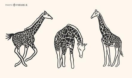 Diseño del vector del estilo del Doodle de la jirafa