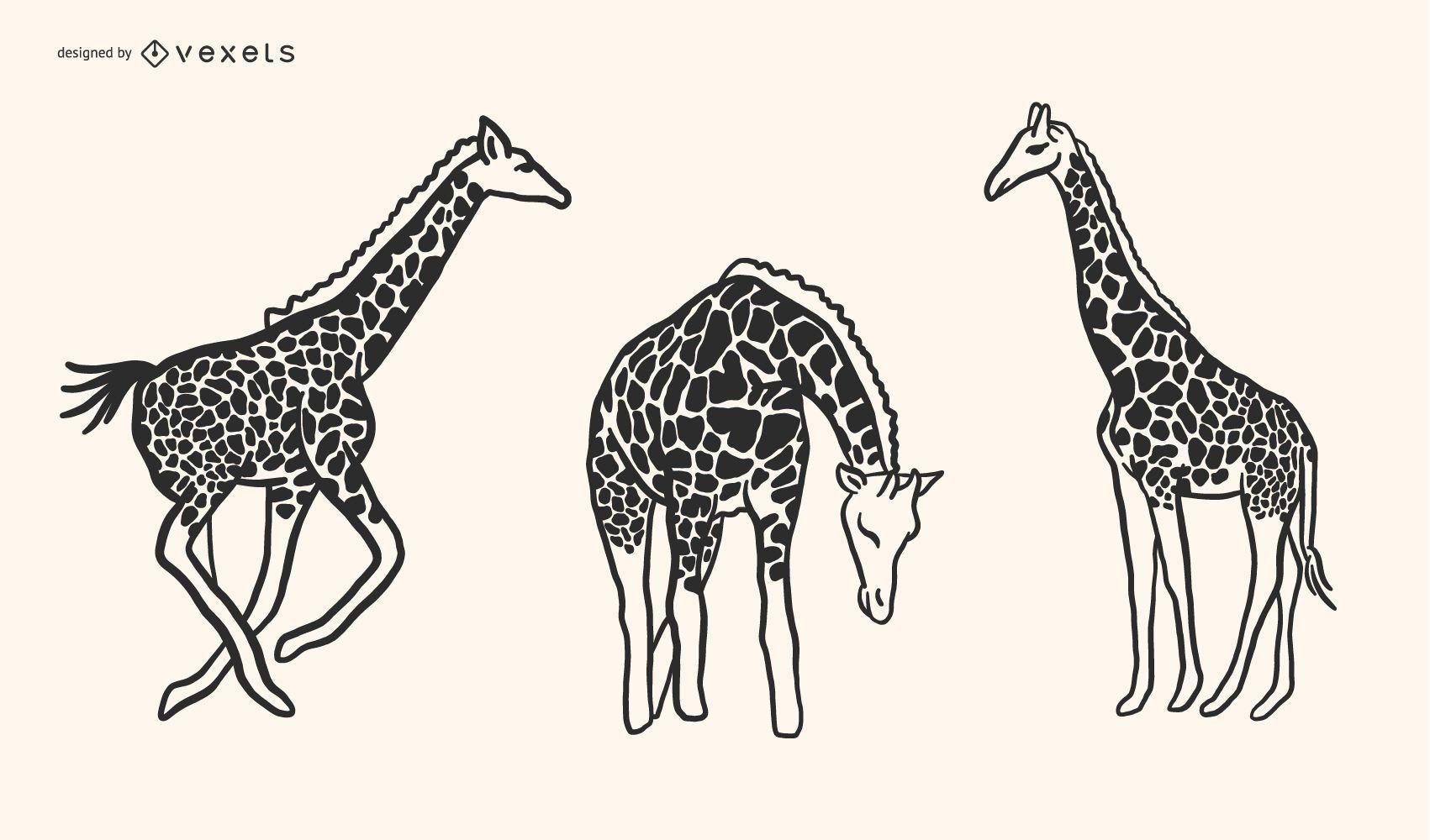 Desenho de vetor de estilo girafa Doodle
