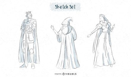 Fantasy characters sketch designs