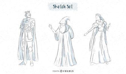 Fantasy-Figuren skizzieren Designs