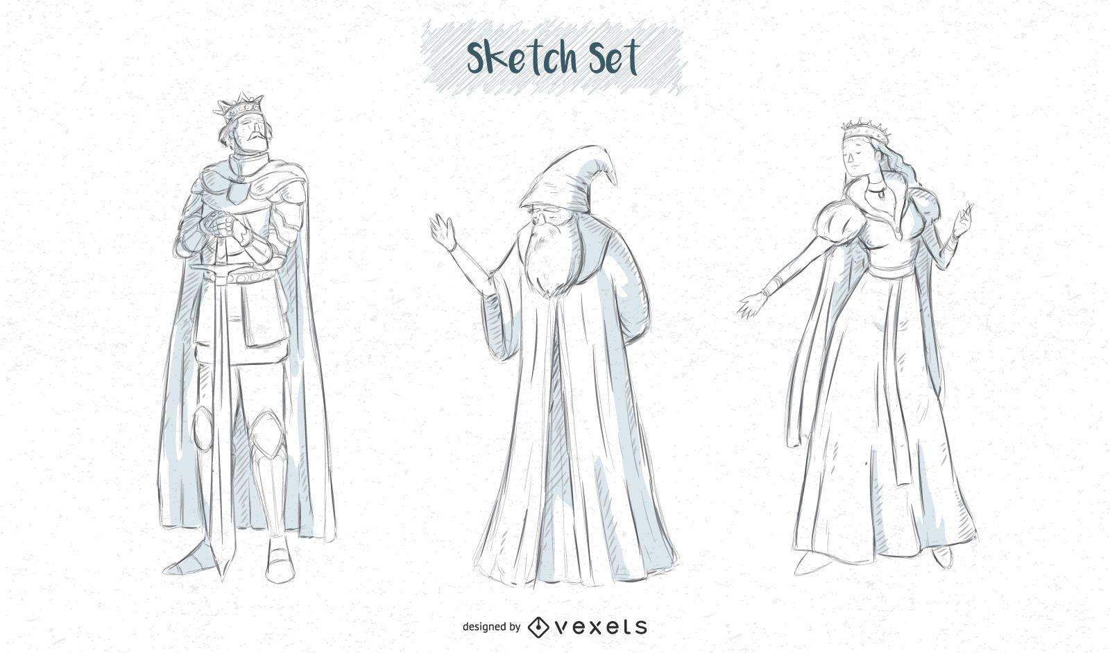Diseños de bocetos de personajes de fantasía