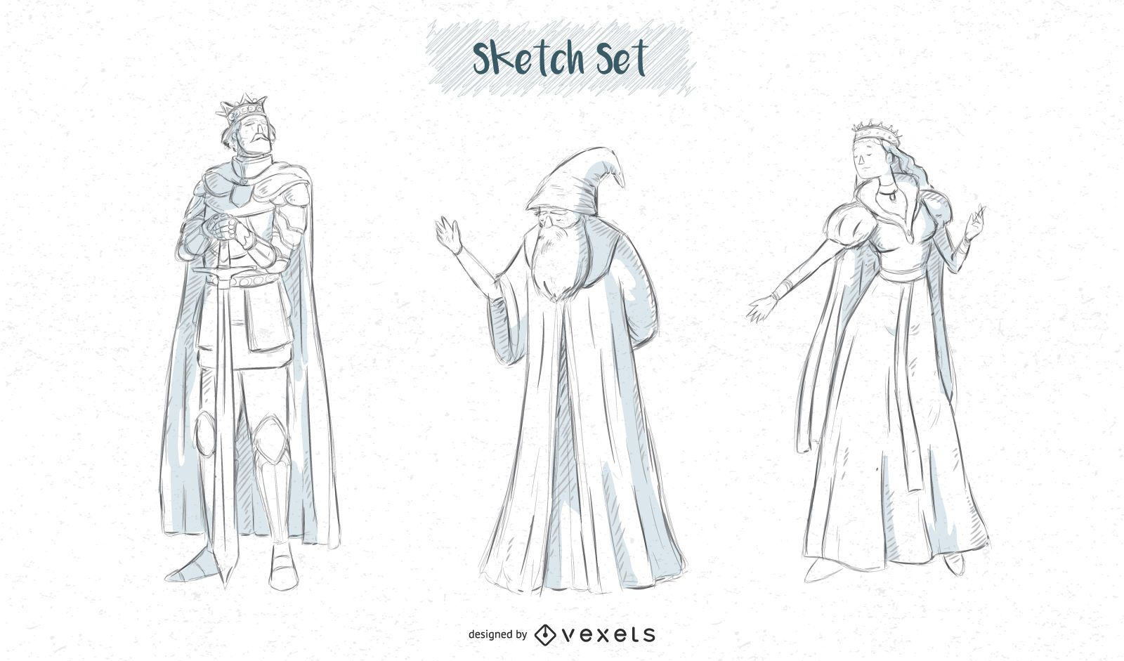 Fantasy characters sketch designs