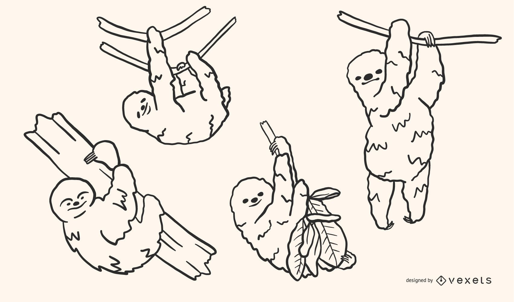 Sloth Doodle Style Vector Set