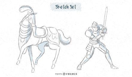 Pferde- und Ritterskizzenentwürfe