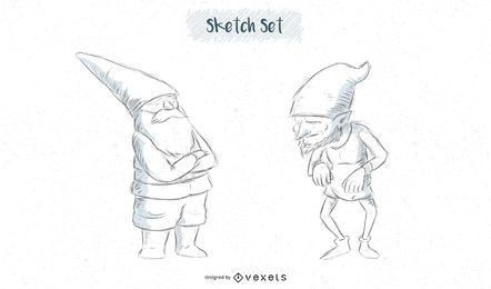 Gnome sketch designs set
