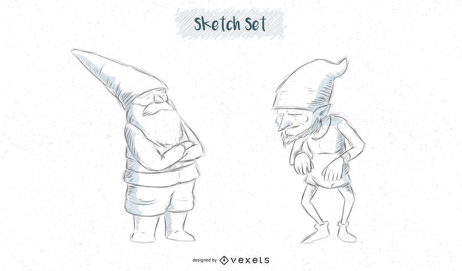 Gnome sketch set designs