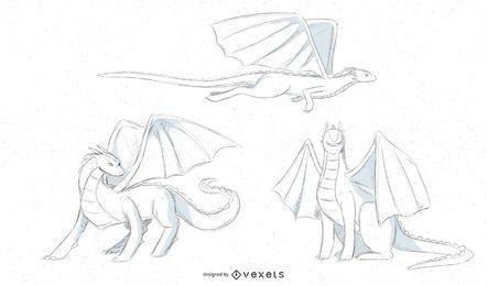 desenhos de esboço de dragão