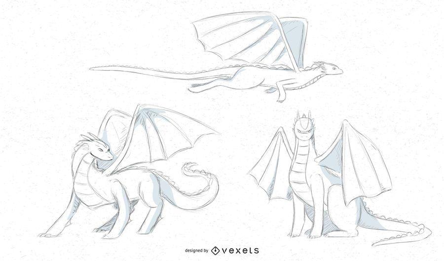 diseños del bosquejo del dragón