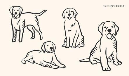 Conjunto de vetores de estilo de Doodle de cachorro