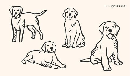 Hundegekritzel-Art-Vektor-Satz