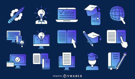 Paquete de artículos de educación en línea.