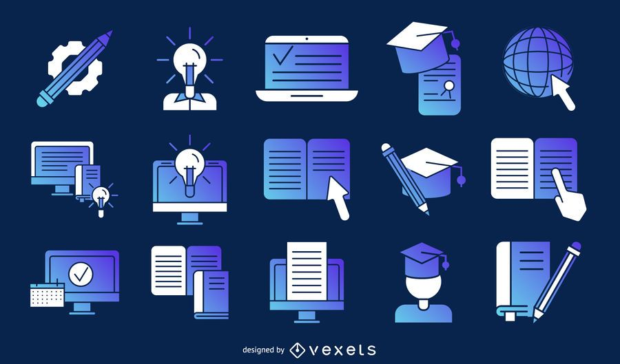 online education items pack designs