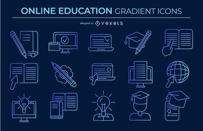 pacote de ícones de educação on-line