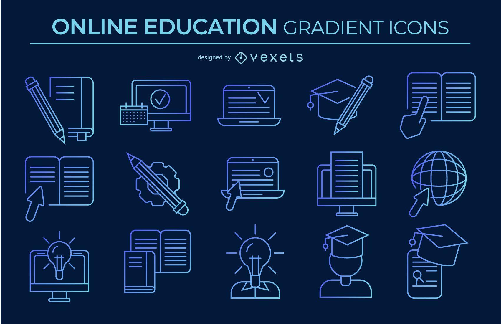 paquete de iconos de educación en línea