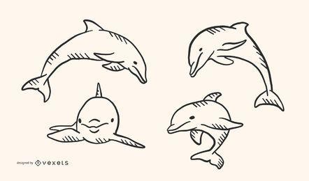 Diseño del vector del estilo del Doodle del delfín