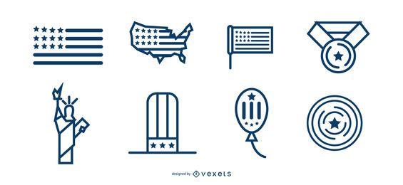 Unabhängigkeitstag Etiketten Designs