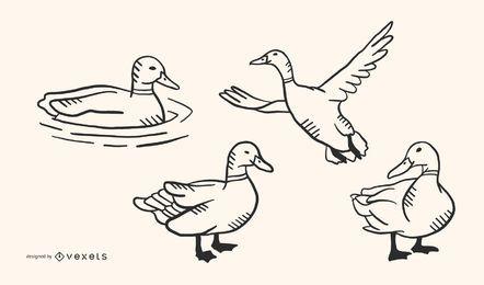 Duck Doodle Vector Set