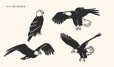 Coleção de vetores de águia Doodle