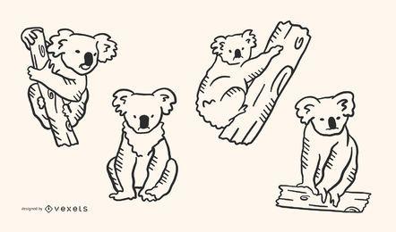 Estilo Koala Doodle Conjunto de 4