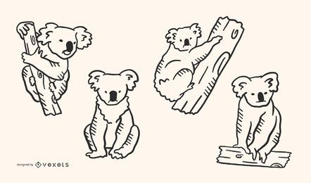 Koala Doodle Style 4er-Set