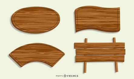 Banners y marcos de madera vector gratuito