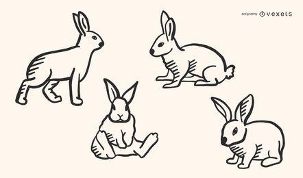 Kaninchen Doodle Vector Style Set