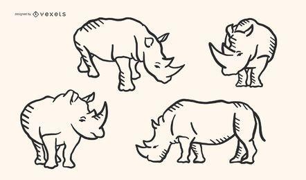 Conjunto de vetores de rinoceronte Doodle