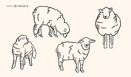 Conjunto de vetores de doodle de ovelha
