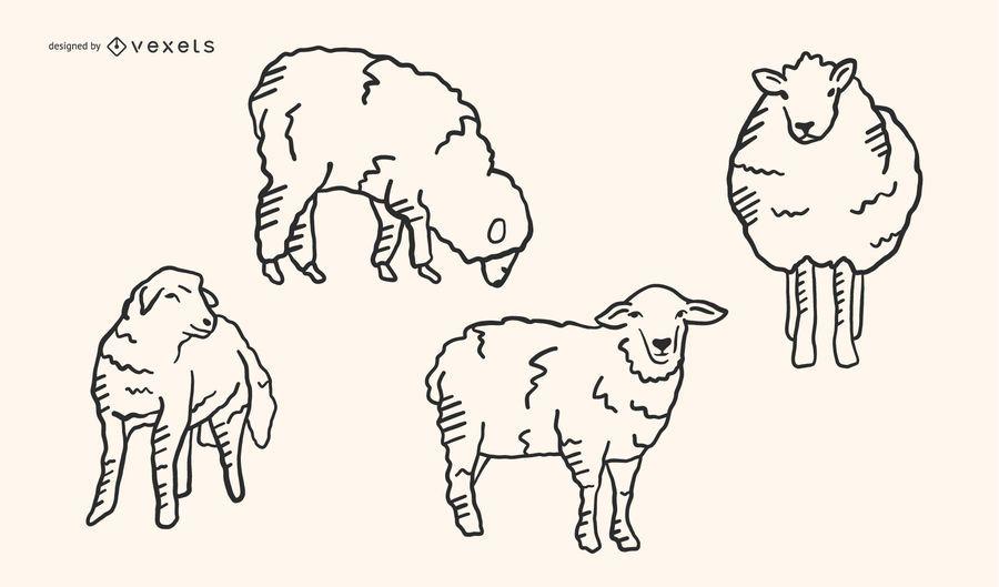 Sheep Doodle Vector Set