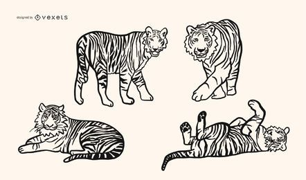Tigre garabato vector conjunto