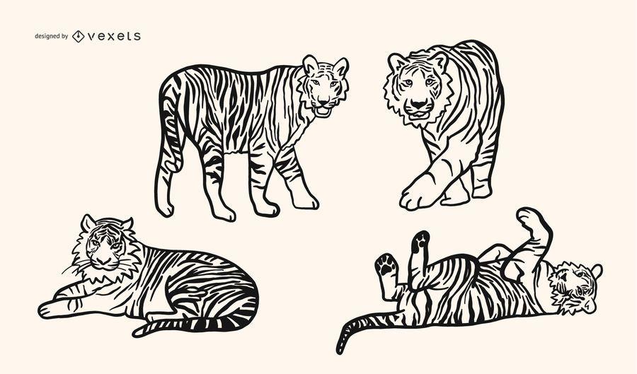 Conjunto de vetores de tigre doodle