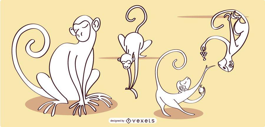 Coleção de vetores Linear de macaco