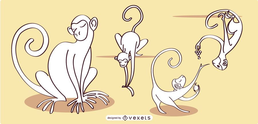Monkey Lineal Vector Collection