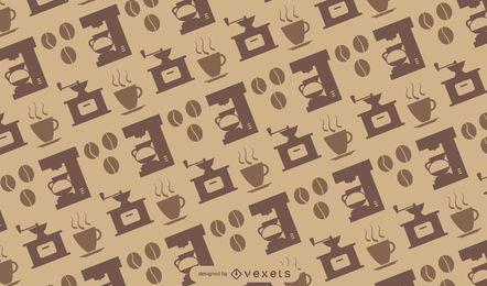 Iconos de café de patrones sin fisuras