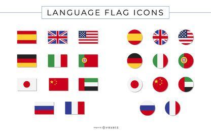Coleção de ícones de bandeira de idioma