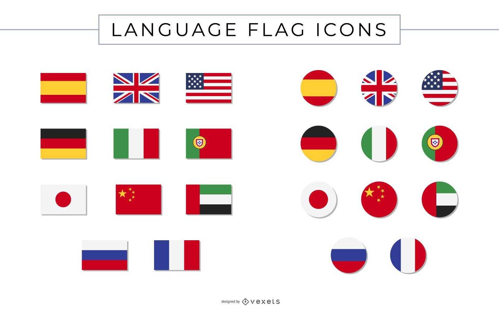 Coleção de ícones de bandeiras de idiomas