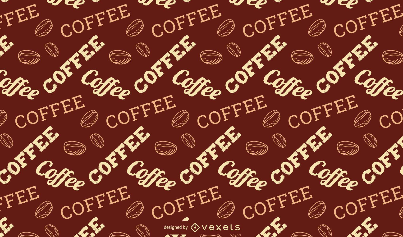 Diseño de patrón de letras de café