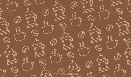 Café Lineal Estilo Seamless Pattern