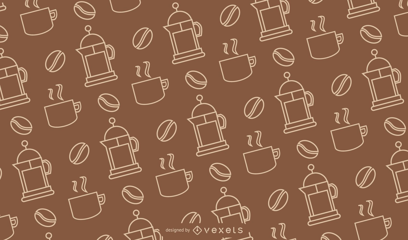 Coffee Lineal Style Seamless Pattern