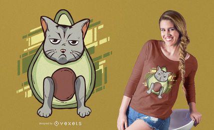 Diseño de camiseta de gato de aguacate gruñón
