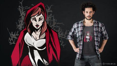 Design de t-shirt de capuz de equitação vermelho
