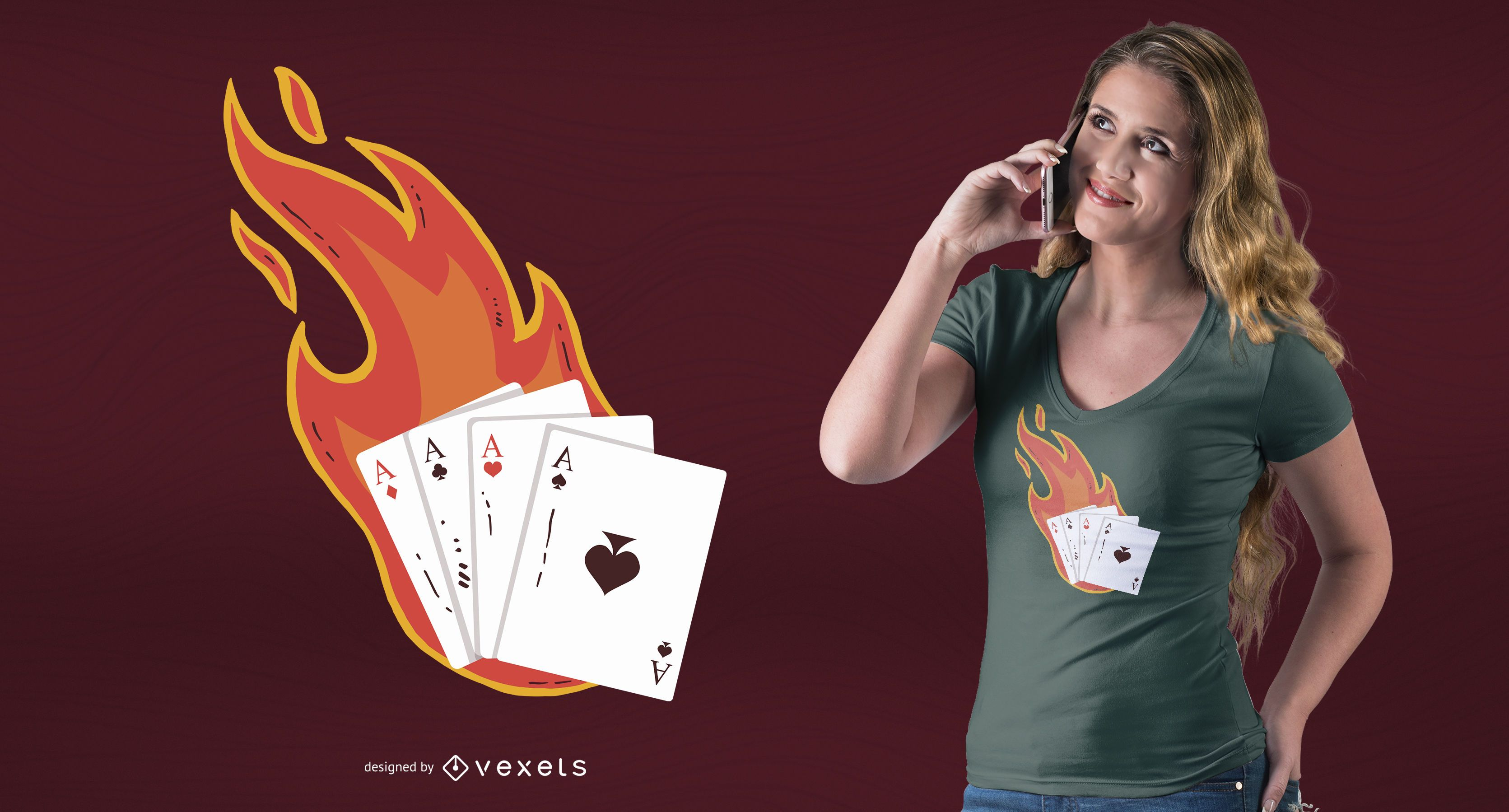 Aces on fire t-shirt design