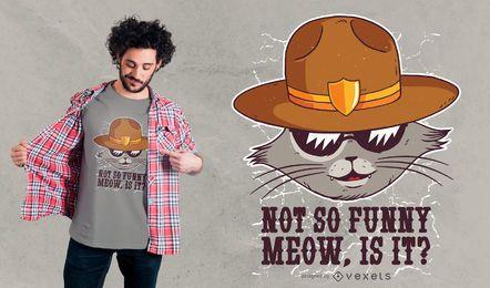 Diseño de camiseta de gato sheriff