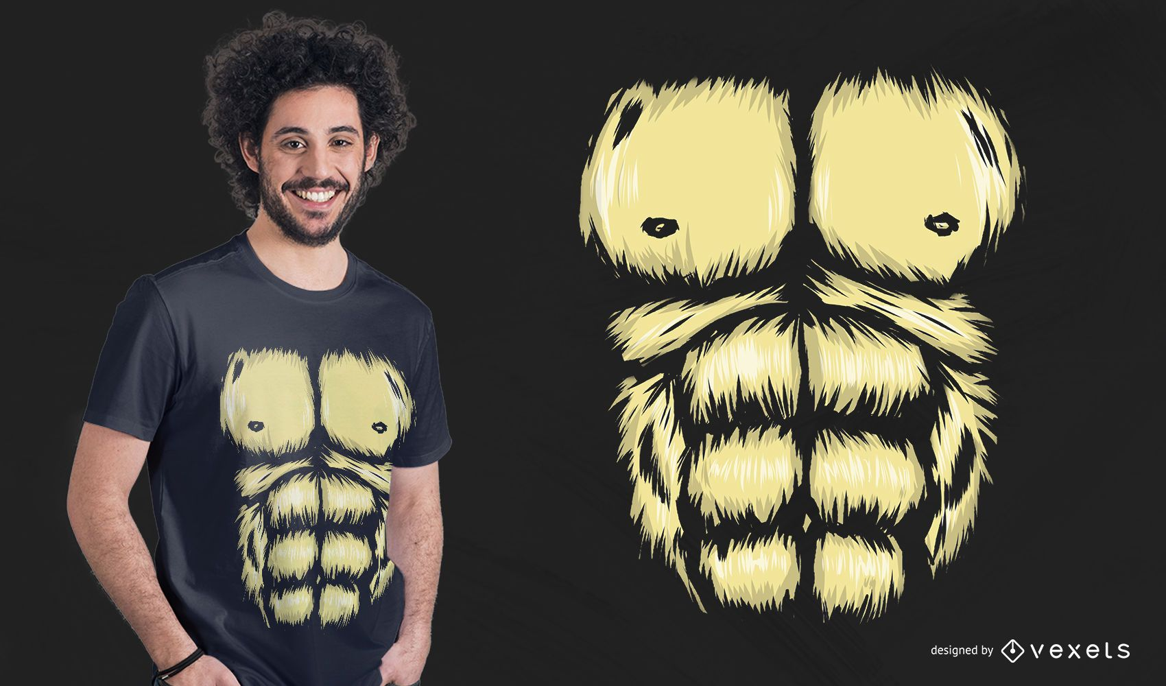 Diseño de camiseta de pecho de gorila