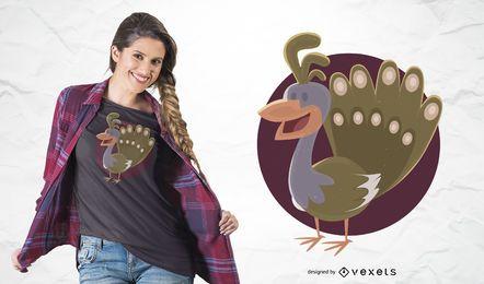 Diseño de camiseta de pavo real