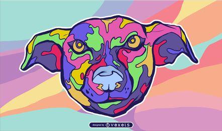 Desenho vetorial de cabeça de cachorro trippy