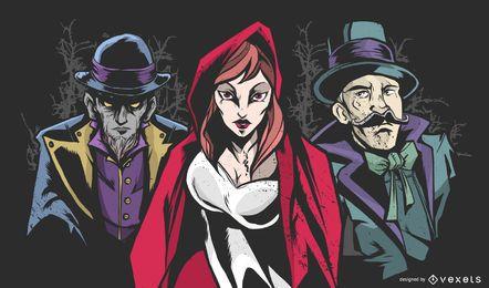 Ilustração em vetor personagens mistério