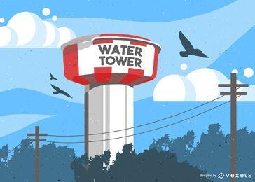 Ilustração do tanque de torre de água