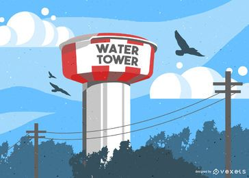 Water Tower Tank Illustration