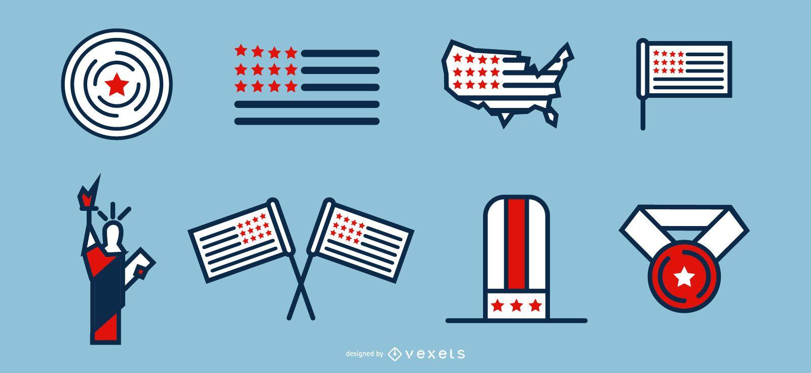 conjunto de iconos patrióticos